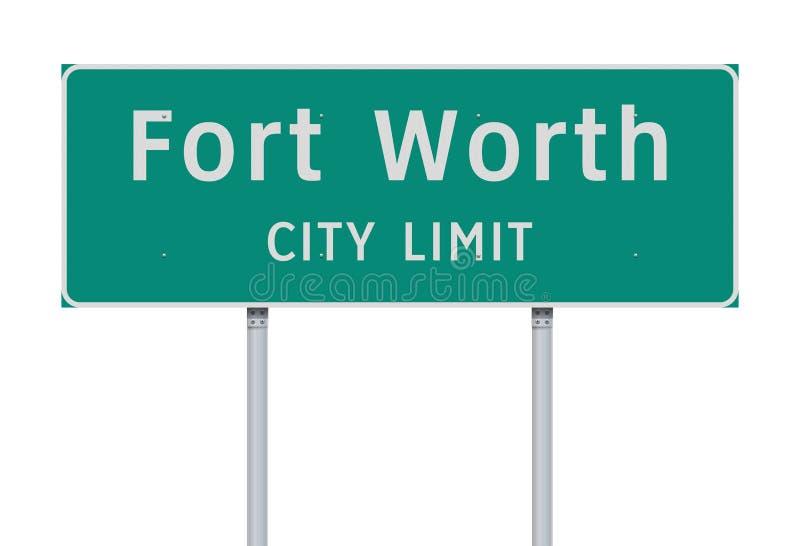 Panneau routier de limite de ville de Fort Worth illustration libre de droits