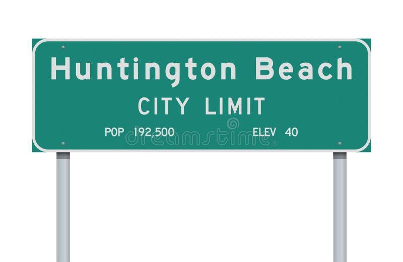 Panneau routier de limite de ville de Huntington Beach illustration stock