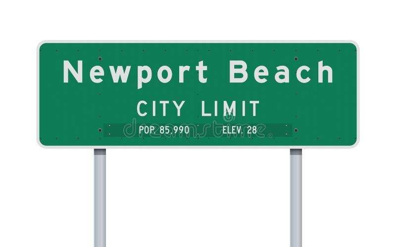 Panneau routier de limite de ville de plage de Newport illustration stock