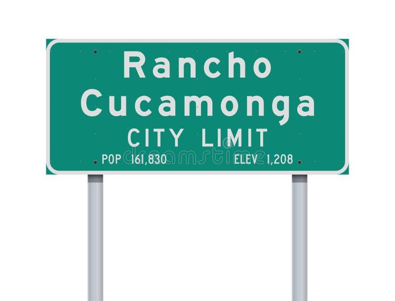 Panneau routier de limite de ville de Rancho Cucamonga illustration stock