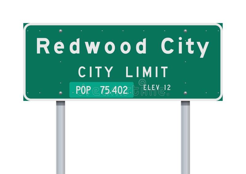 Panneau routier de limite de ville de Redwood City illustration stock
