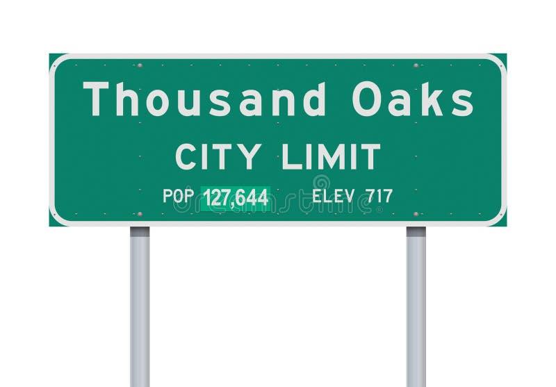 Panneau routier de limite de ville de Thousand Oaks illustration stock