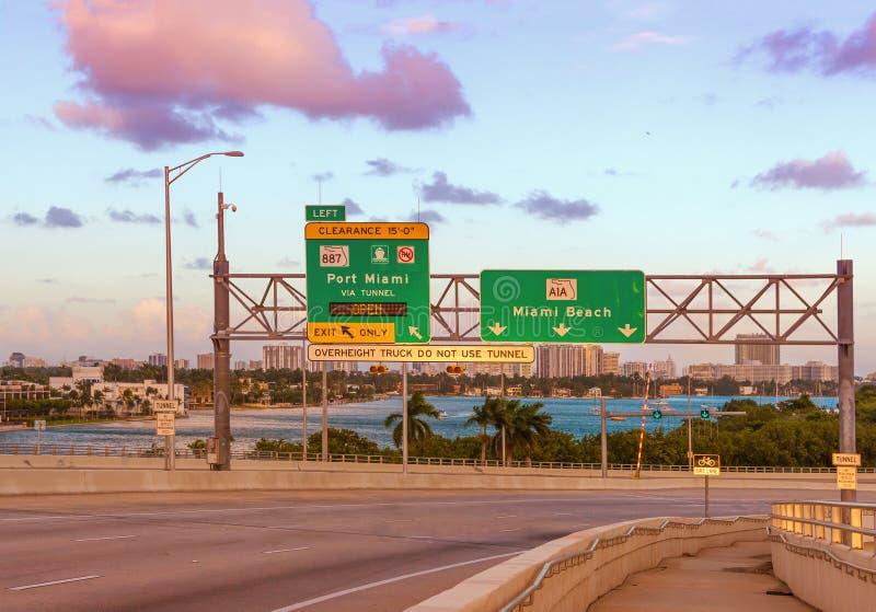 Panneau routier de Miami Beach images stock