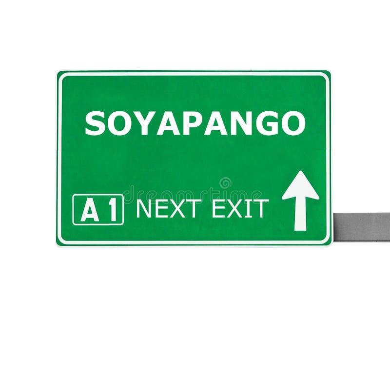 Panneau routier de SOYAPANGO d'isolement sur le blanc photographie stock