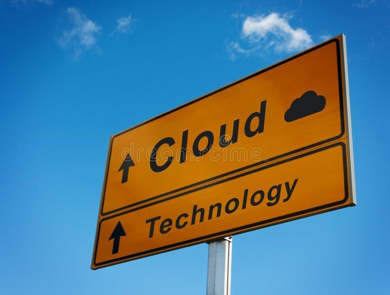 Panneau routier de technologie de nuage. images libres de droits