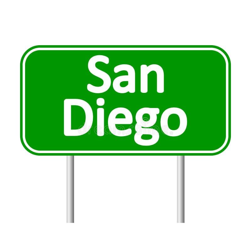 Panneau routier de vert de San Diego illustration stock