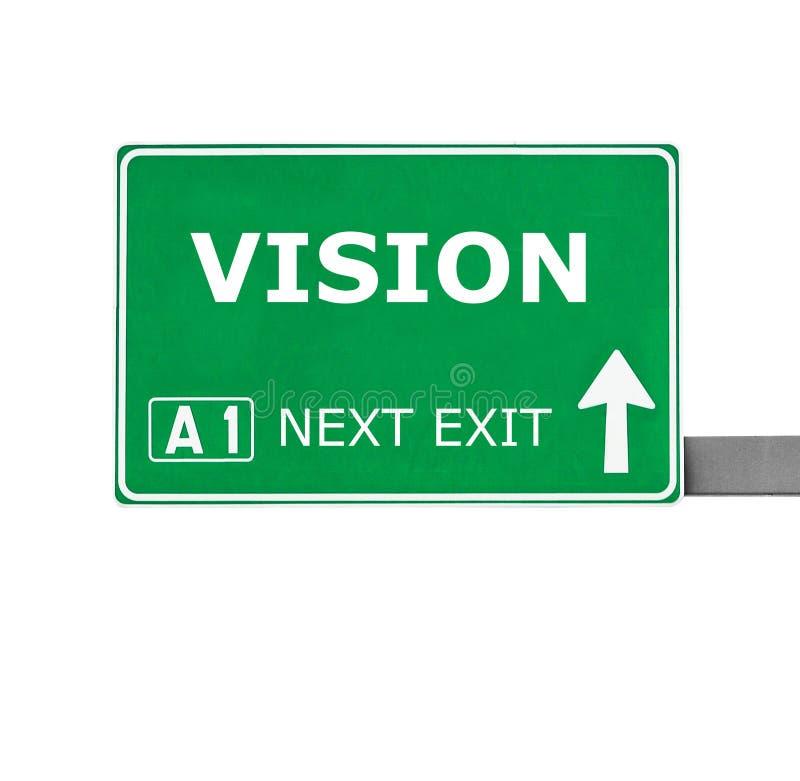 Panneau routier de VISION d'isolement sur le blanc photo stock