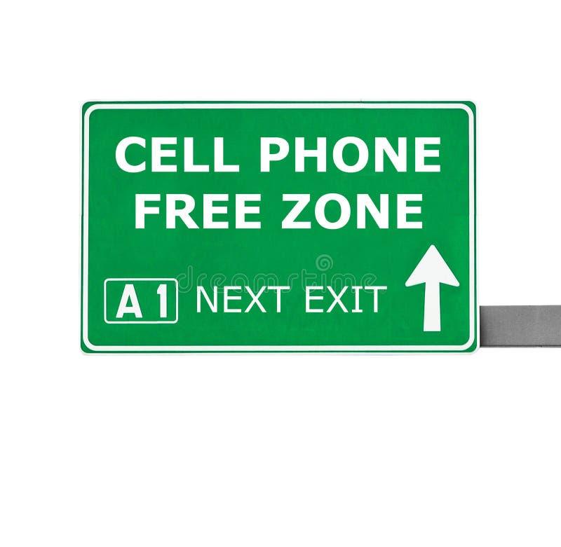 Panneau routier de ZONE FRANCHE de TÉLÉPHONE PORTABLE d'isolement sur le blanc image stock