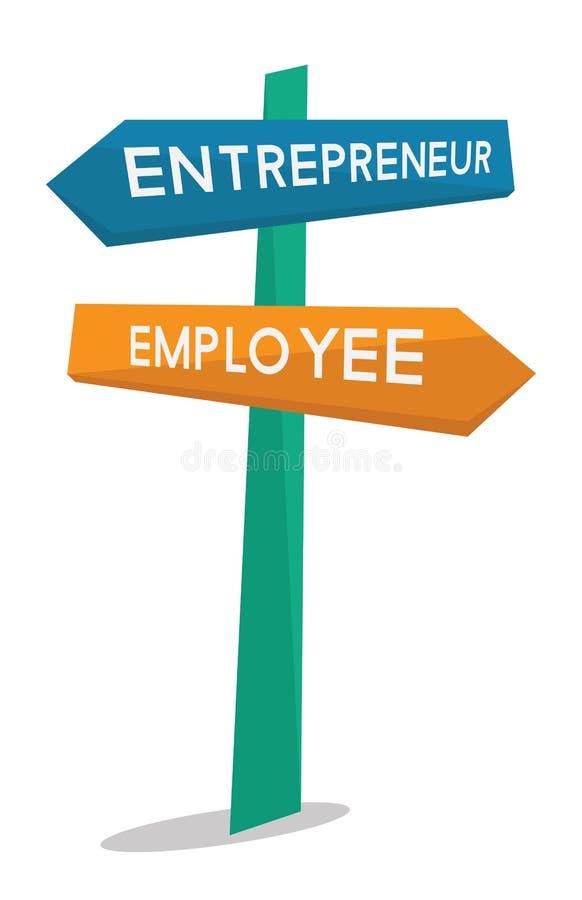 Panneau routier des employés et d'entrepreneur illustration de vecteur