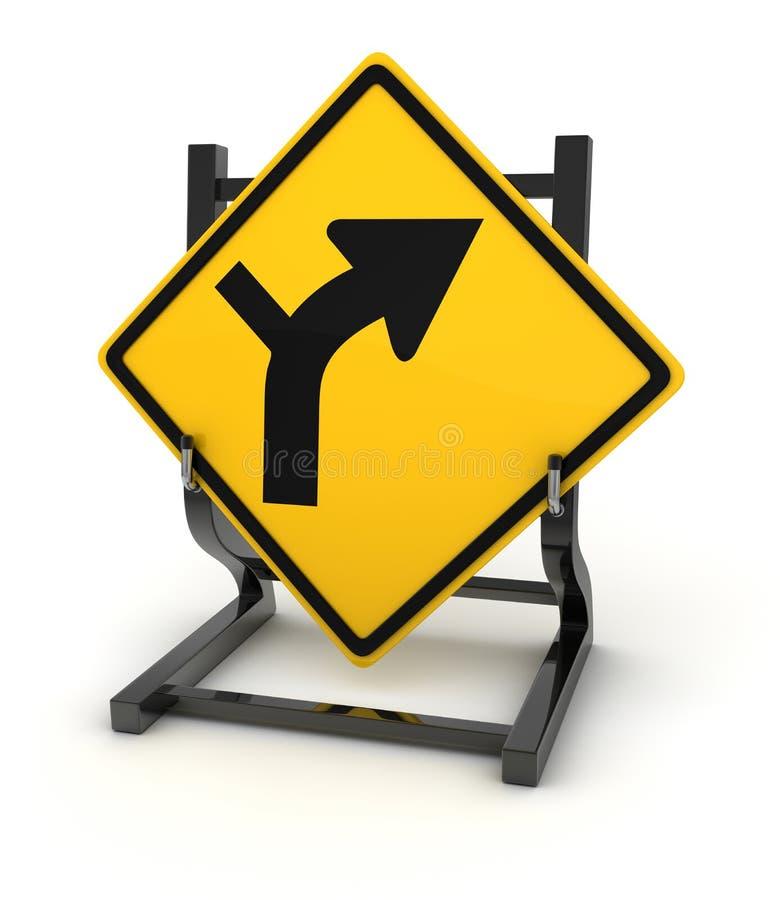 Panneau routier - droite de tour illustration libre de droits