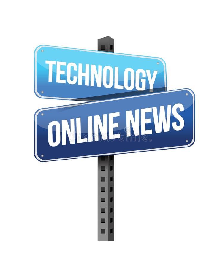 Panneau routier en ligne d'actualités de technologie illustration stock
