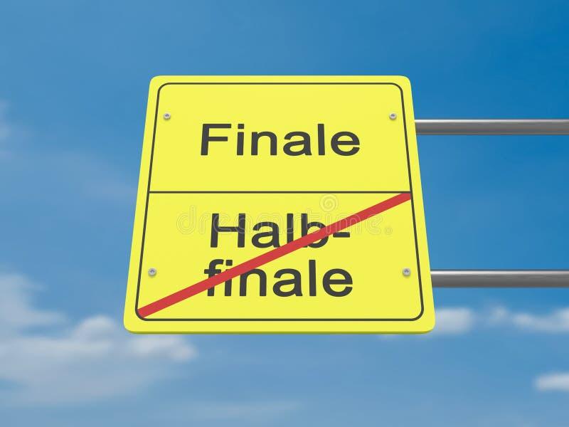 Panneau routier : Finale d'und de Halbfinale, signification Semi-finale et finale dans la langue allemande images libres de droits