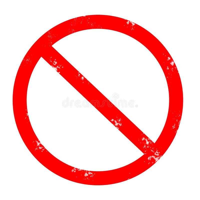 Panneau routier grunge interdit tampon en caoutchouc interdit rouge sur le blanc illustration de vecteur