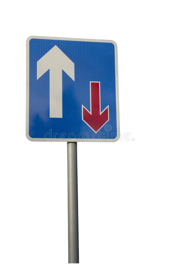 Panneau routier prioritaire du trafic d'isolement sur le blanc image stock