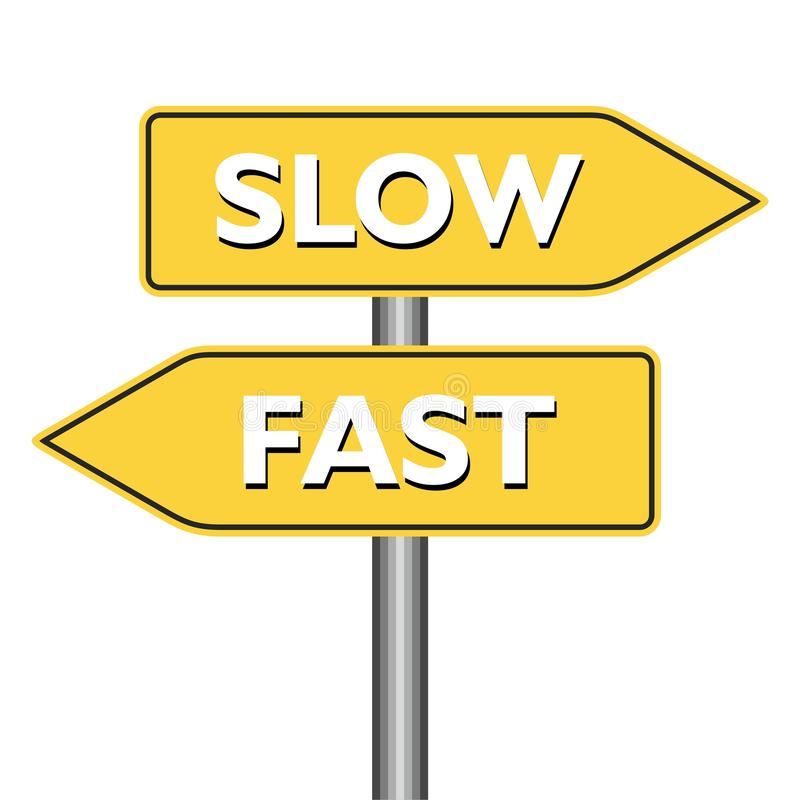 Panneau routier rapide ou lent illustration stock