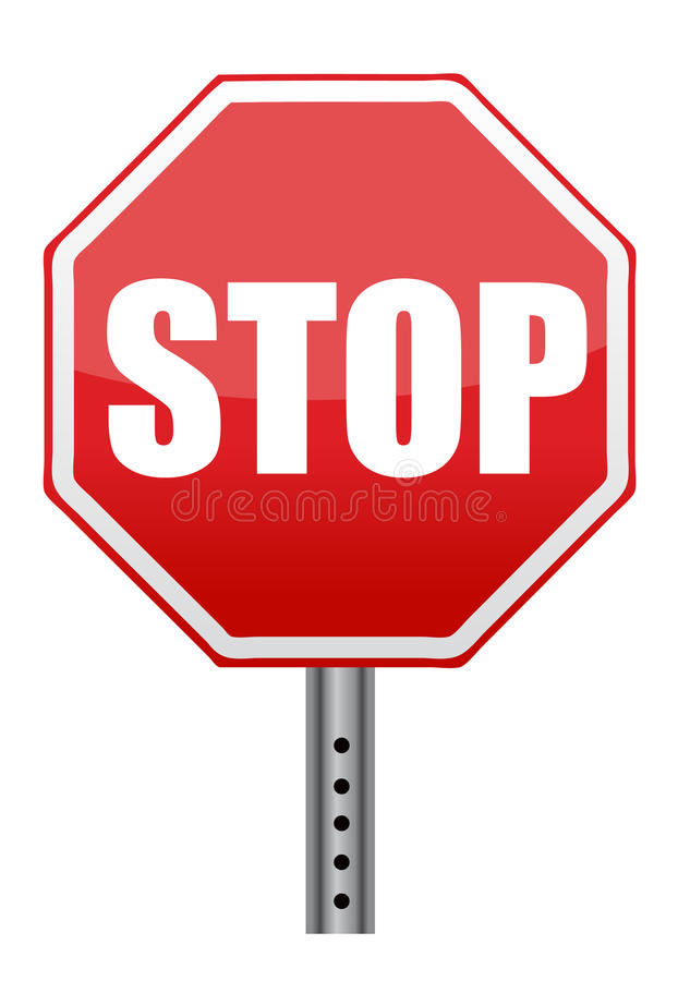 Panneau routier rouge d'arrêt illustration de vecteur