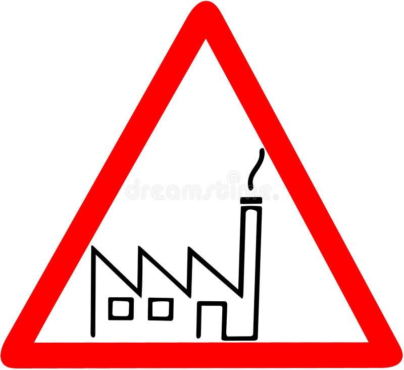 Panneau routier rouge de triangle d'avertissement d'icône d'usine d'usine sur le fond blanc illustration de vecteur