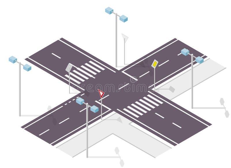 Panneau routier sur la rue Poteau de signalisation de rue Crossway de graphique d'infos illustration stock