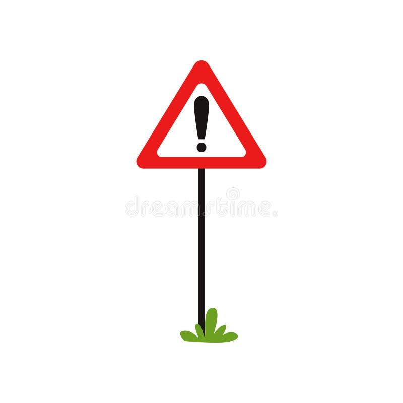 Panneau routier triangulaire avec la marque d'exclamation Le poteau de signalisation d'avertissement indique le risque en avant D illustration de vecteur