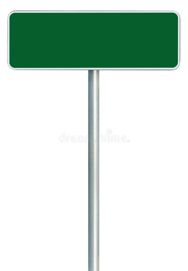 Panneau routier vert vide d'isolement, blanc l'espace de copie d'enseigne de bord de la route encadré grand par cadre, plan rappr photo stock
