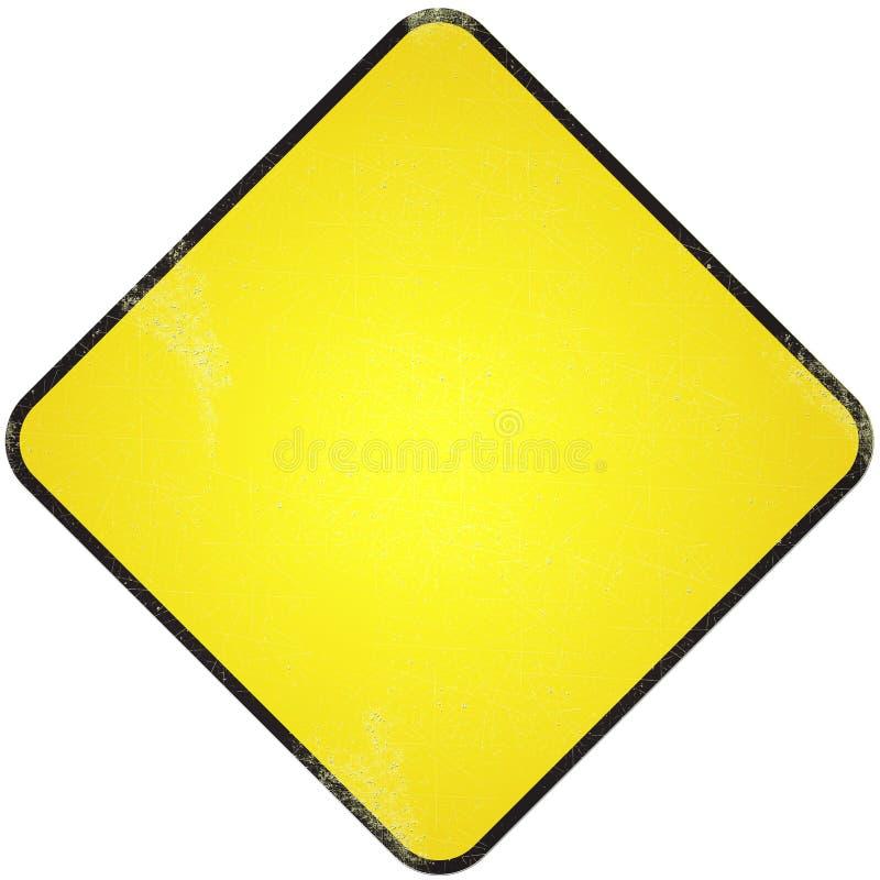 Panneau routier vide jaune. images libres de droits