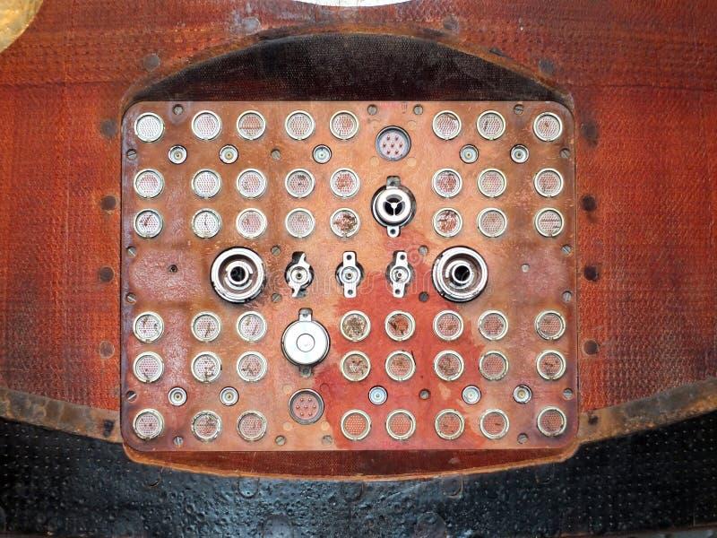 Panneau se reliant électrique de vintage de capsule de Soyuz avec la rentrée b image stock