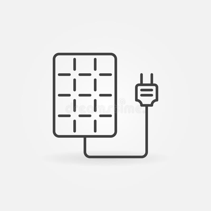 Panneau solaire avec l'icône de prise illustration stock