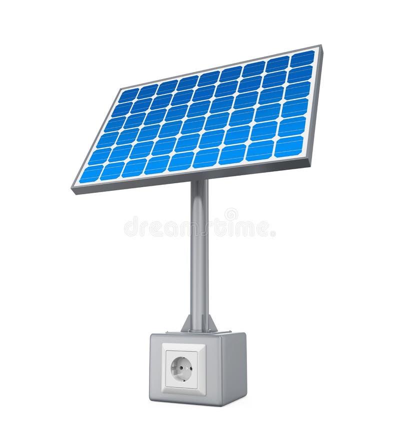 Panneau solaire avec la prise électrique illustration de vecteur