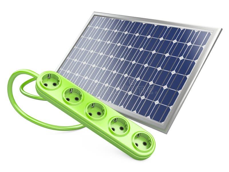 Panneau solaire avec la prise illustration libre de droits