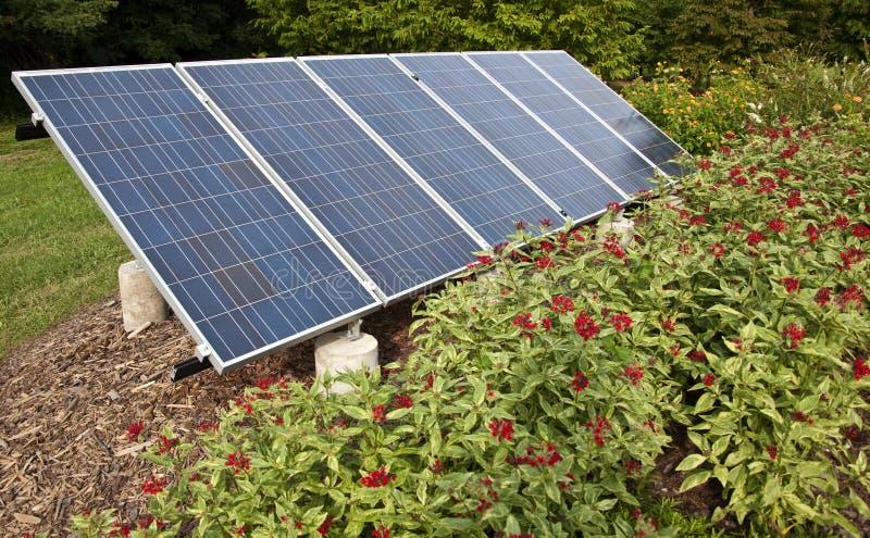 Panneau solaire dans un jardin photos stock