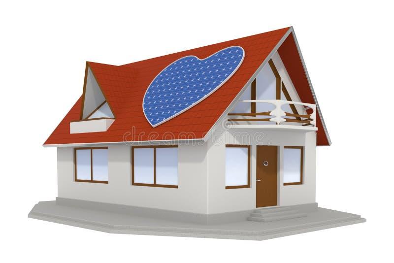 panneau solaire en forme de coeur sur la maison 2 illustration stock illustration du ambiant. Black Bedroom Furniture Sets. Home Design Ideas