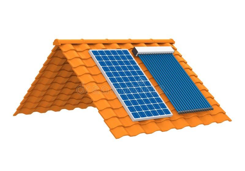 Panneau solaire et collecteur solaire de caloduc illustration stock