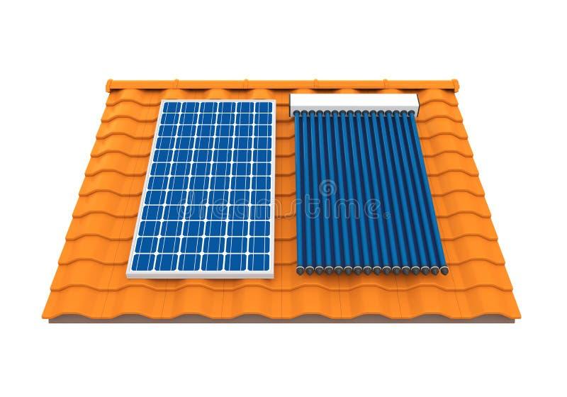 Panneau solaire et collecteur solaire de caloduc illustration libre de droits