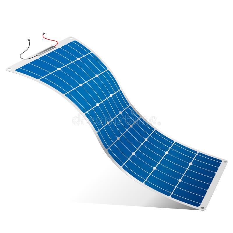 Panneau solaire flexible avec les câbles noirs et rouges de connexion sur le fond blanc - image de vecteur illustration libre de droits
