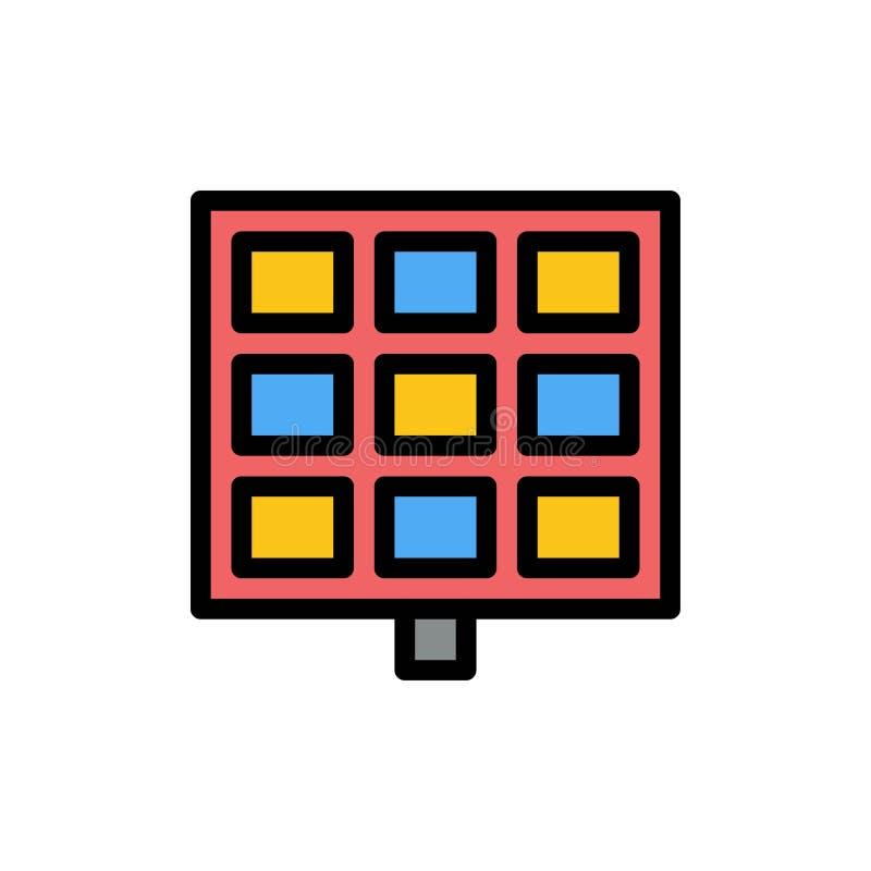 Panneau, solaire, icône plate de couleur de construction Calibre de bannière d'icône de vecteur illustration de vecteur