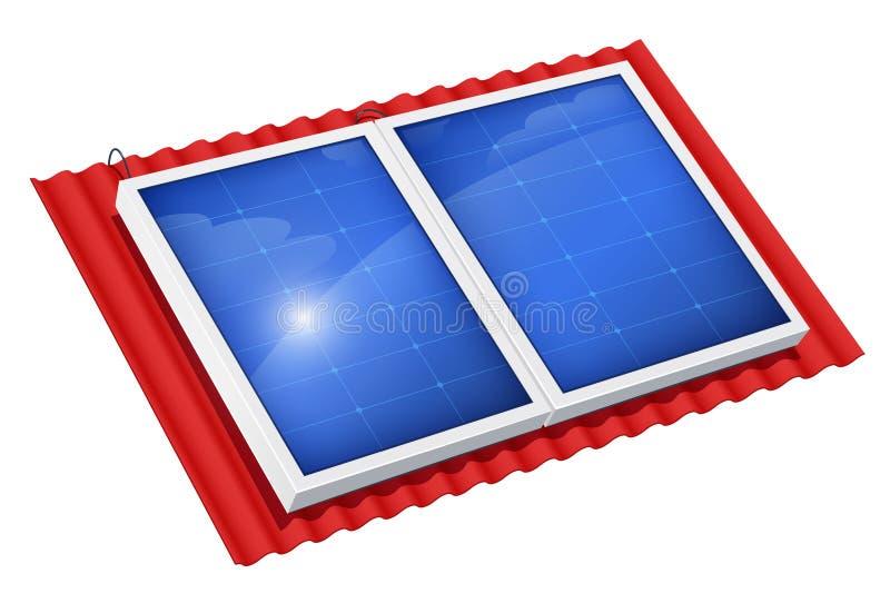 Panneau solaire pour l'énergie de substitution Système écologique illustration libre de droits