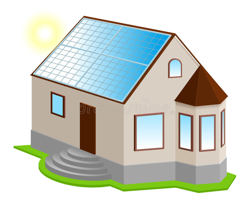Panneau solaire sur le toit Nouvelle maison 3d privée avec la fenêtre en saillie illustration de vecteur