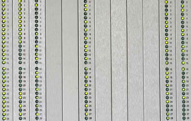 Panneau synoptique pour signaler des alarmes avec le vert mené photo stock