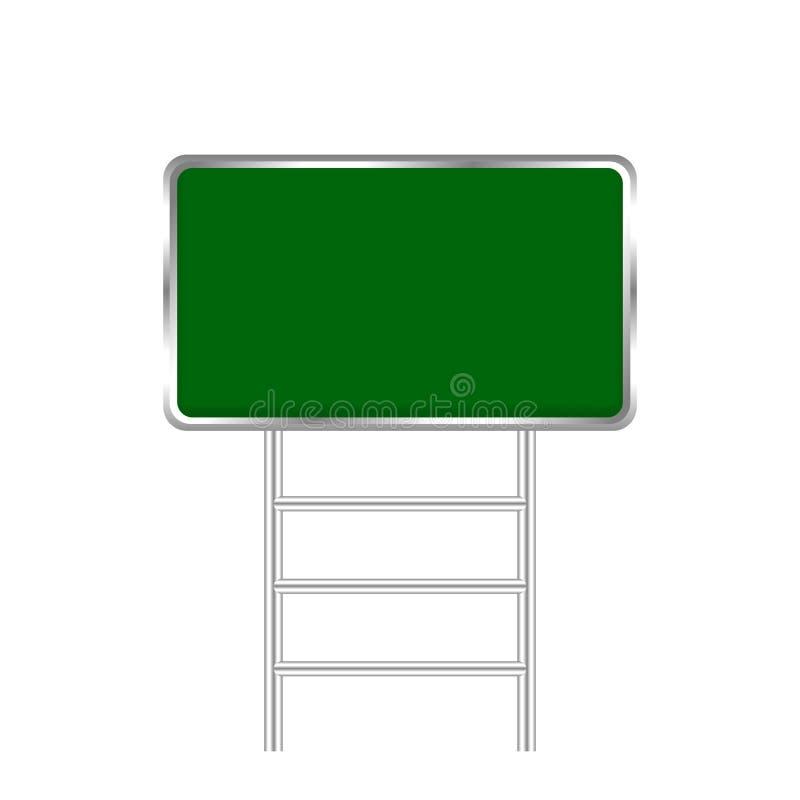 Panneau vide de poteau de signalisation et métal verts de poteau d'isolement sur le fond blanc, l'espace de copie de blanc de pl illustration de vecteur