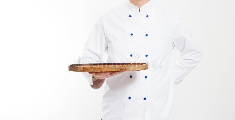 Panneau vide de prise de chef d'isolement sur le fond blanc, la nourriture et le concept culinaire photos stock