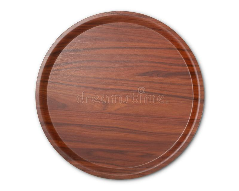 Panneau vide de rond en bois d'isolement sur le fond blanc, vue supérieure photo stock