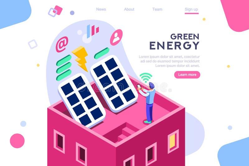 Panneaux électriques de construction solaires de Digital illustration libre de droits