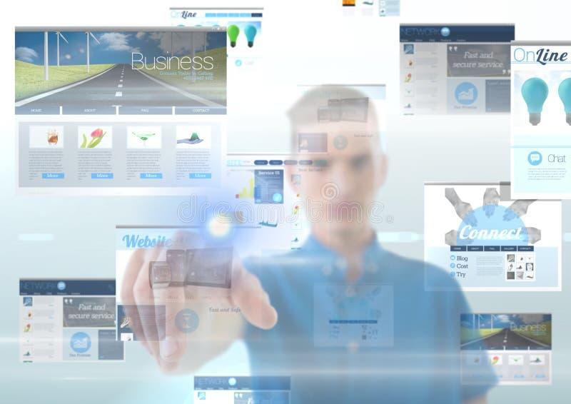 panneaux avec l'homme (bleu) de sites Web derrière t touchant l'écran photos libres de droits