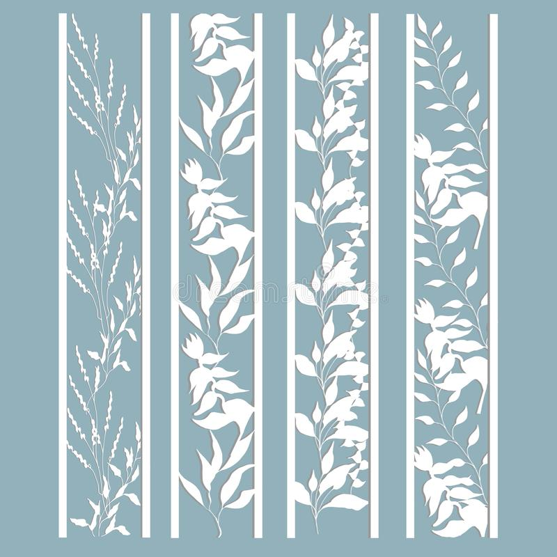 Panneaux avec un modèle des feuilles et des fleurs r Un ensemble de calibres de repère Coupe de laser, pochoir illustration libre de droits