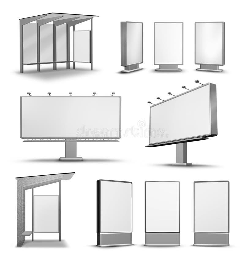 Panneaux d'affichage d'affiche de publicité extérieure illustration libre de droits