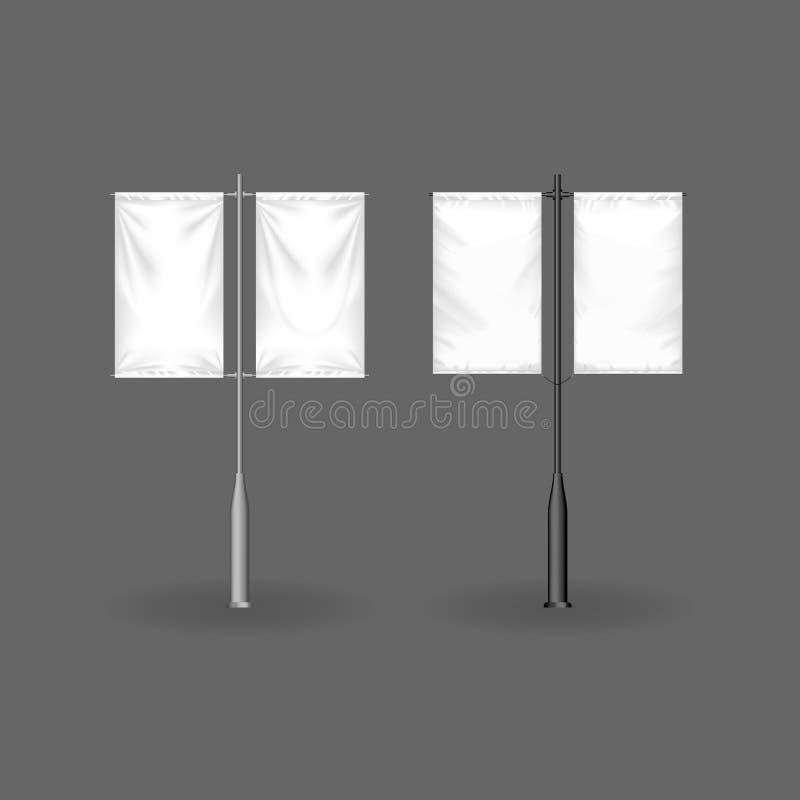 Panneaux d'affichage réalistes, drapeaux et publicité extérieure Signes au détail, support de maquette illustration de vecteur