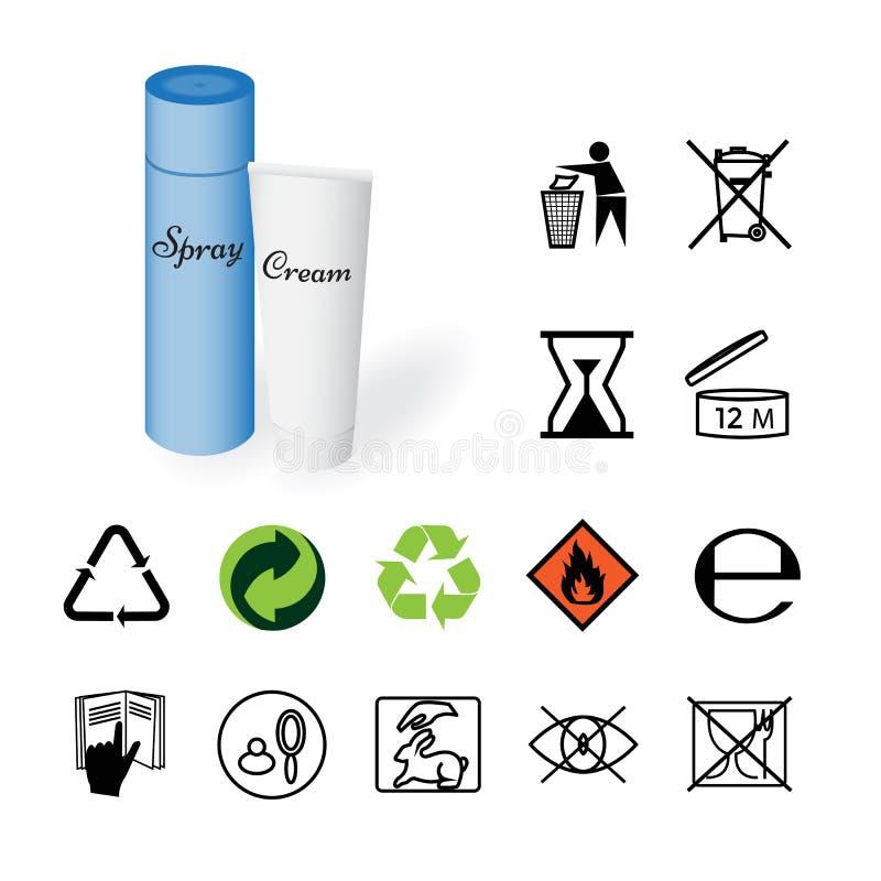 Panneaux d'avertissement, signes environnementaux, produit images libres de droits