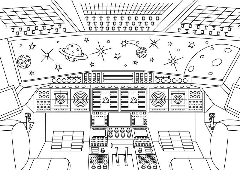 Panneaux de commande de vaisseau spatial illustration stock