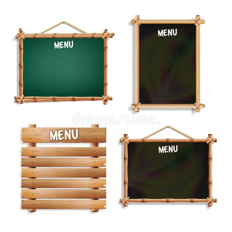 Panneaux de menu réglés D'isolement sur le fond blanc Tableau noir et vert vide réaliste d'enseigne avec accrocher en bois de cad illustration de vecteur
