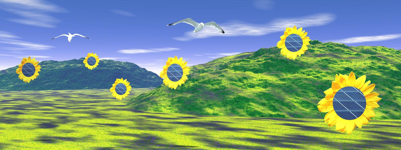 Panneaux de Soalr en tournesols illustration stock